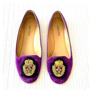 Nine West suede Loafers with navy emblem, 7.5 W